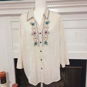 alfred dunner  Women's  3/4 blouse Size 20,ivory